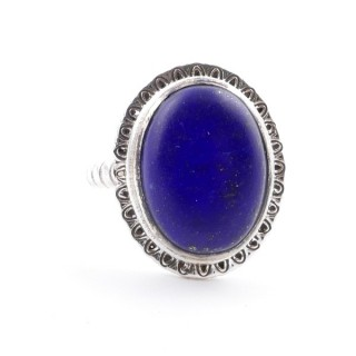 58210-02 ADJUSTABLE 21 X 17 MM SILVER RING WITH STONE IN LAPIS LAZULI
