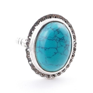 58210-07 ADJUSTABLE 21 X 17 MM SILVER RING WITH STONE IN TURQUOISE