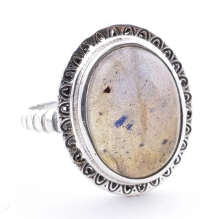 58210-08 ADJUSTABLE 21 X 17 MM SILVER RING WITH STONE IN LABRADORITE