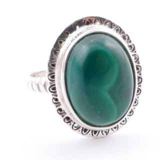 58210-10 ADJUSTABLE 21 X 17 MM SILVER RING WITH STONE IN MALACHITE