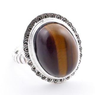 58210-11 ADJUSTABLE 21 X 17 MM SILVER RING WITH STONE IN TIGER'S EYE