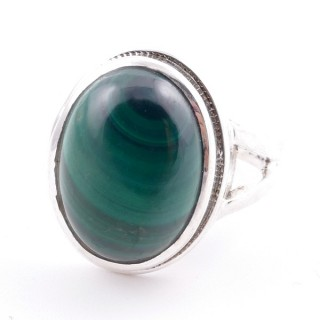 58211-10 ADJUSTABLE 19 X 15 MM SILVER RING WITH STONE IN MALACHITE