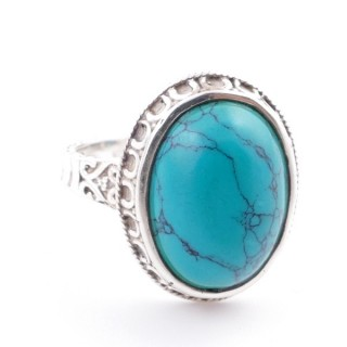 58212-07 ADJUSTABLE 20 X 16 MM SILVER RING WITH STONE IN TURQUOISE