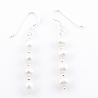52153-01 STERLING SILVER AND PEARL LONG DRESS EARRINGS 21 X 5 MM