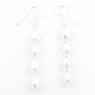 52153-02 STERLING SILVER AND PEARL LONG DRESS EARRINGS 37 X 4 MM