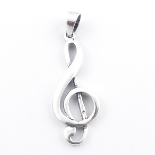 55440 STERLING SILVER TREBLE CLEF 33 X 13 MM PENDANT