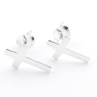 55431 SILVER 925 CROSS SHAPED 11 X 7 MM POST EARRINGS