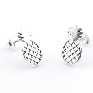 55434 SILVER 925 PINEAPPLE SHAPED 13 X 7 MM POST EARRINGS