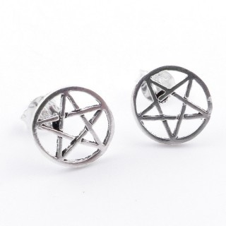 55433 PENTAGRAM SHAPE SILVER EARRINGS 9 MM