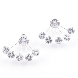58148 STERLING SILVER AND GLASS STONE EARRINGS 20 X 24 MM
