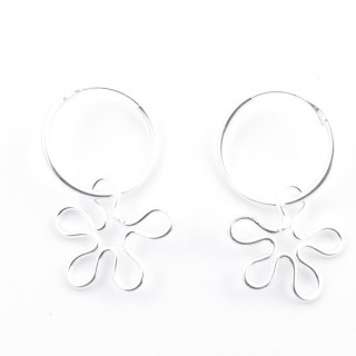 5214900 STERLING SILVER DESIGN EARRINGS. SIZE: 30 X 15 MM