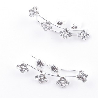 5214206 STERLING SILVER 925 CLIMBER DESIGN EARRINGS 28 X 10 MM