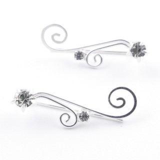 5214207 STERLING SILVER 925 CLIMBER DESIGN EARRINGS 20 X 6 MM