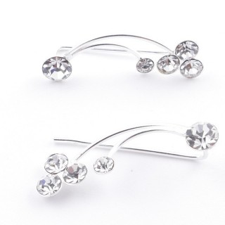 5214216 STERLING SILVER 925 CLIMBER DESIGN EARRINGS 22 X 7 MM