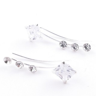 5214220 STERLING SILVER 925 CLIMBER DESIGN EARRINGS 22 X 7 MM