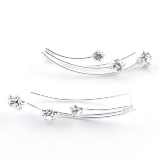 5214228 STERLING SILVER 925 CLIMBER DESIGN EARRINGS 24 X 5 MM