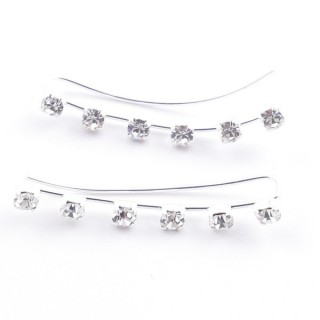 5214230 STERLING SILVER 925 CLIMBER DESIGN EARRINGS 26 X 3 MM