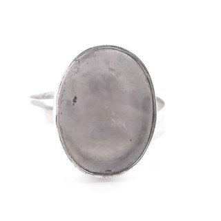 58215-01 ADJUSTABLE SILVER RING WITH 16 X 12 MM ROSE QUARTZ STONE