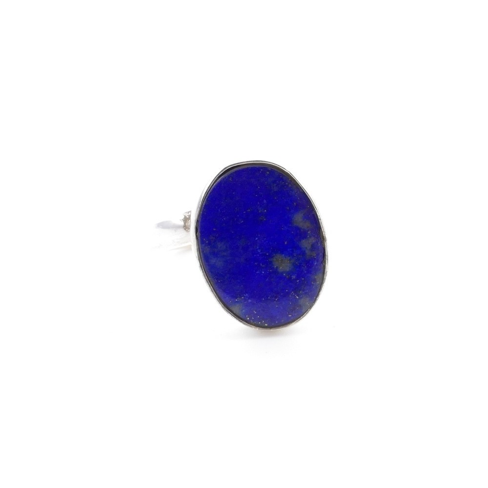 58215-02 ADJUSTABLE SILVER RING WITH 16 X 12 MM LAPIS LAZULI STONE