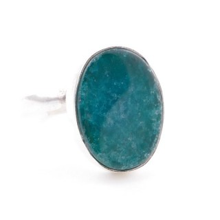 58215-03 ADJUSTABLE SILVER RING WITH 16 X 12 MM EMERALD STONE