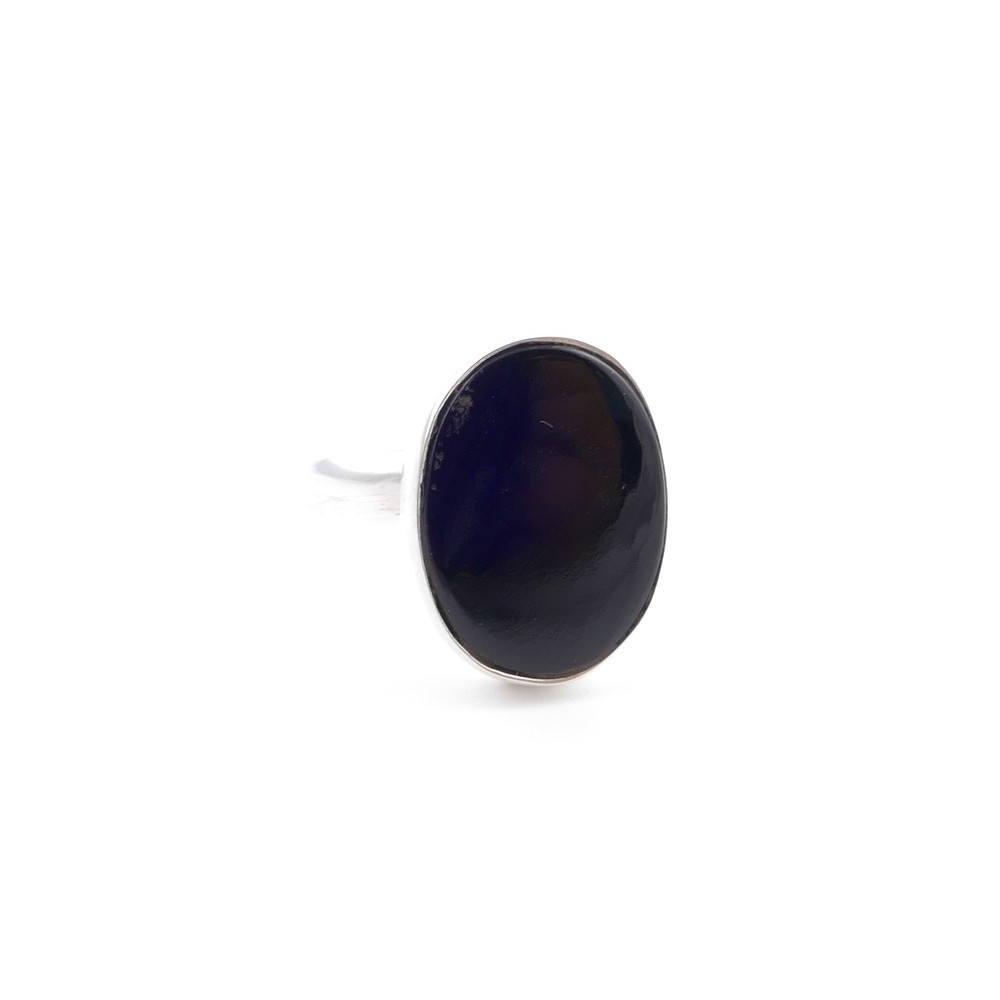 58215-04 ADJUSTABLE SILVER RING WITH 16 X 12 MM ONYX STONE