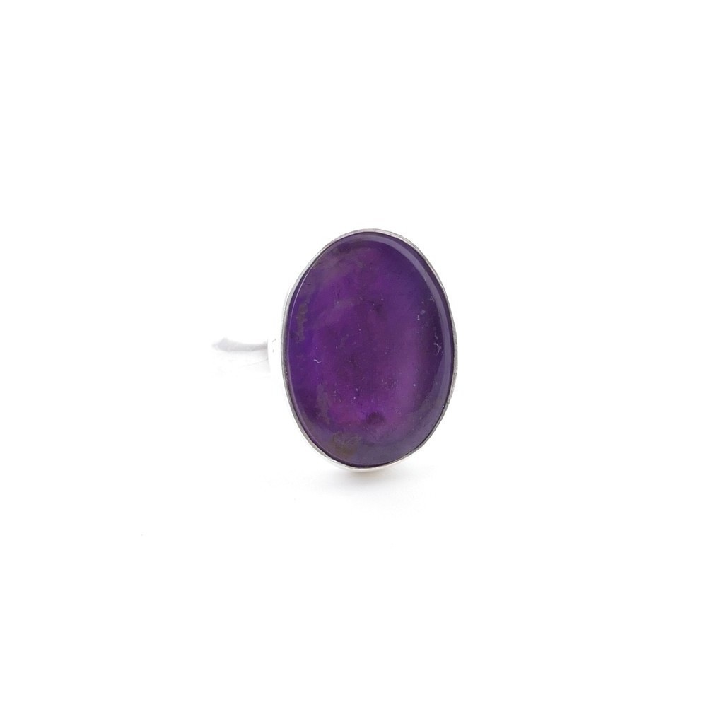 58215-06 ADJUSTABLE SILVER RING WITH 16 X 12 MM AMETHYST STONE