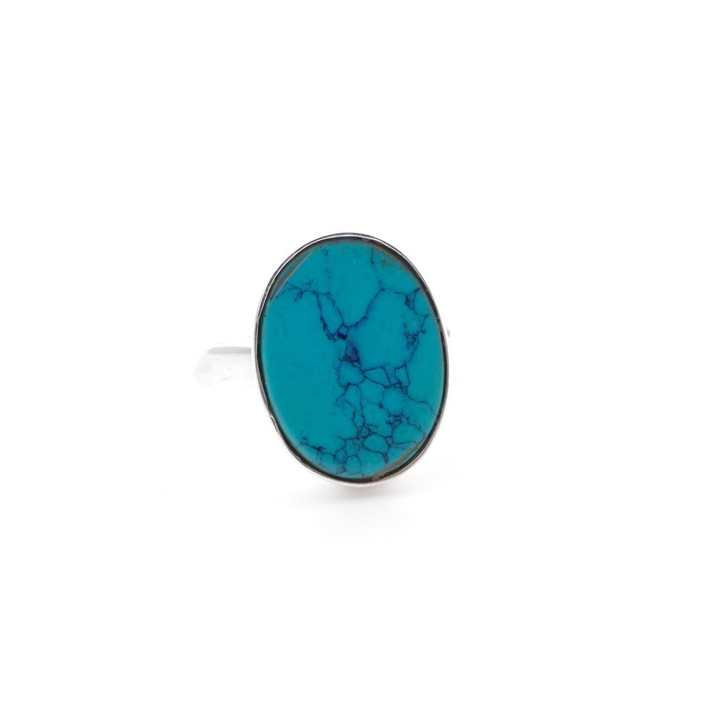 58215-07 ADJUSTABLE SILVER RING WITH 16 X 12 MM TURQUOISE STONE
