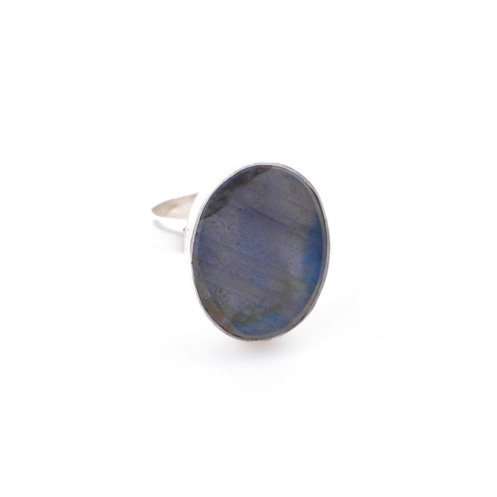58215-08 ADJUSTABLE SILVER RING WITH 16 X 12 MM LABRADORITE STONE