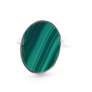 58215-10 ADJUSTABLE SILVER RING WITH 16 X 12 MM MALACHITE STONE