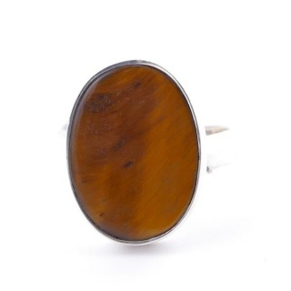58215-11 ADJUSTABLE SILVER RING WITH 16 X 12 MM TIGER'S EYE STONE