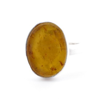 58215-12 ADJUSTABLE SILVER RING WITH 16 X 12 MM AMBER STONE
