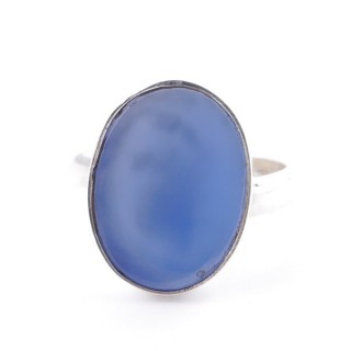 58215-15 ADJUSTABLE SILVER RING WITH 16 X 12 MM BLUE ONYX STONE