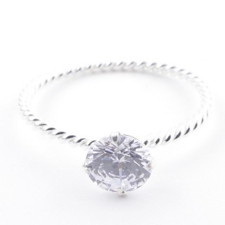 52161-15 SILVER 1.5 MM RING WITH 6.5 MM GLASSS SIZE 15