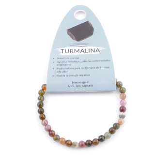 37623-85 ELASTIC NATURAL WATERMELON TOURMALINE 5-6 MM STONE BRACELET