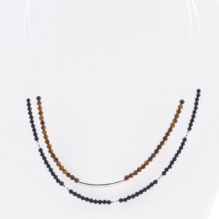 51235 SHORT NECKLACE MADE WITH 2.5 MM FACETED TIGER'S EYE STONE AND SILVER 925