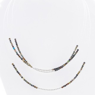 51236 SHORT NECKLACE MADE WITH 2.5 MM FACETED INDIAN AGATE STONE AND SILVER 925