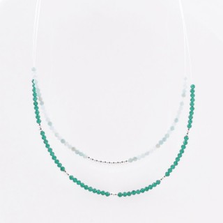 51238 SHORT NECKLACE MADE WITH 2.5 MM FACETED AMAZONITE STONE AND SILVER 925