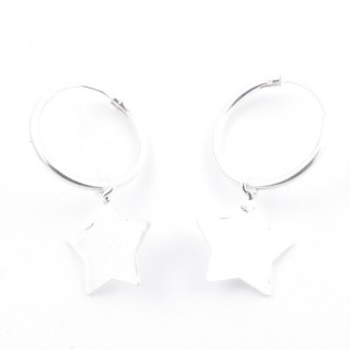 51247 STERLING SILVER 1.5 X 16 MM LOOP EARRING WITH STAR