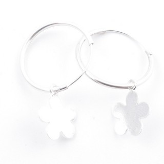 51248 STERLING SILVER 1.5 X 20 MM LOOP EARRING WITH FLOWER