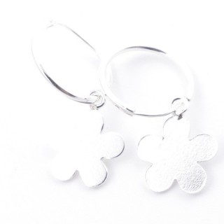 51253 STERLING SILVER 1.2 X 16 MM LOOP EARRING WITH FLOWER