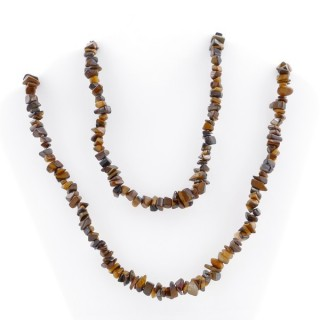 38734-09 NATURAL CHIP STONE 80 CM LONG NECKLACE IN TIGER'S EYE