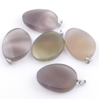 38629-02 PACK OF 5 ASSORTED APPROXIMATELY 3 CM AGATE PENDANTS