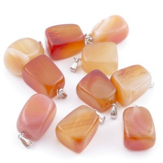 38736-07 PACK OF 10 TUMBLESTONE 10-20 MM PENDANTS IN CARNELIAL