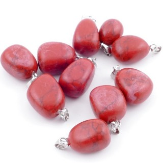 38736-23 PACK OF 10 TUMBLESTONE 10-20 MM PENDANTS IN RED HOWLITE