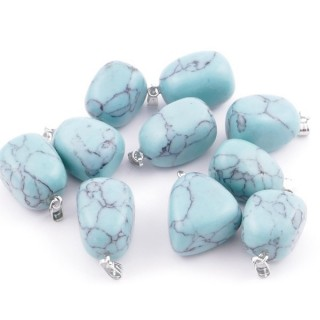 38736-03 PACK OF 10 TUMBLESTONE 10-20 MM PENDANTS IN TURQUOISE