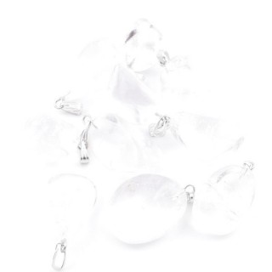 38736-01 PACK OF 10 TUMBLESTONE 10-20 MM PENDANTS IN WHITE QUARTZ