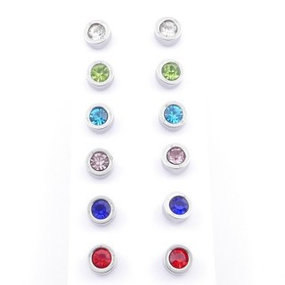 49144 PACK 6 PAIRS STEEL 6 MM STEEL EARRINGS WITH MULTI-COLOURED GLASS STONES