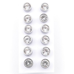 49145 PACK OF 6 PAIRS OF 8 MM DIAMETER STEEL EARRINGS WITH GLASS STONES