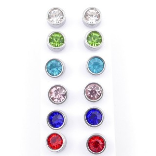 49146 PACK 6 PAIRS STEEL 8 MM STEEL EARRINGS WITH MULTI-COLOURED GLASS STONES