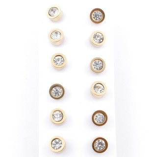 49147 PACK OF 6 PAIRS OF 6 MM DIAMETER GOLDEN STEEL EARRINGS WITH GLASS STONES
